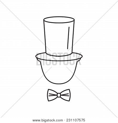 Gentleman Tophat Icon. Outline Gentleman Tophat Vector Icon For Web Design Isolated On White Backgro