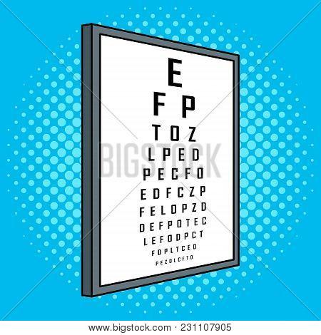 Snellen Chart Test Vision Table Pop Art Retro Vector Illustration. Cartoon Food Character. Color Bac