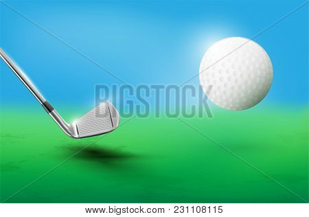 Golf Club And Flying Golf Ball - Vector Illustration