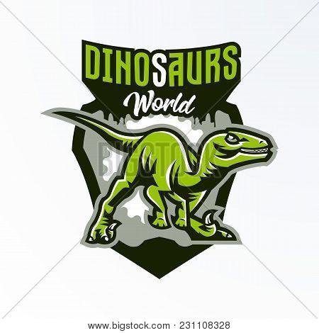 Emblem, Badge, Sticker, Dinosaur Logo On The Hunt. Predator Jurassic, A Dangerous Beast, An Extinct