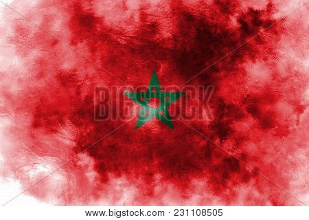 Old Morocco Grunge Background Flag