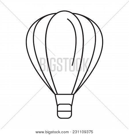 Hot Air Ballon Icon. Outline Hot Air Ballon Vector Icon For Web Design Isolated On White Background
