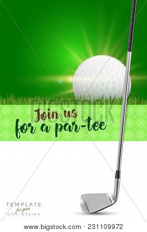 Template For Your Golf Design With Golf Club, Ball, Copy Space And Sample Text In Separate Layer- Ve