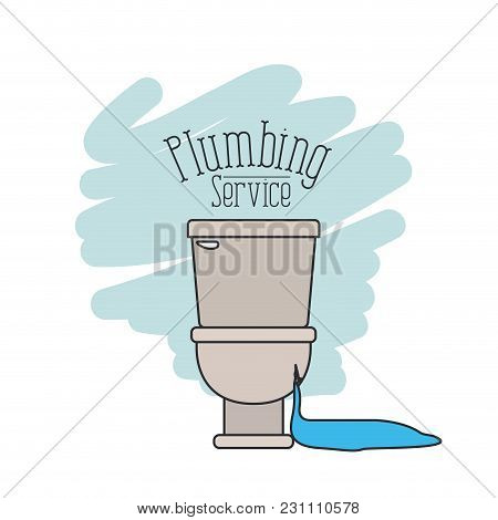 Scene Of Front View Sanitary Dripping Plumbing Service Vector Illustration