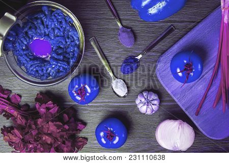 Concept Of Extraterrestrial  Culinary With Unusual Colors, Background Image