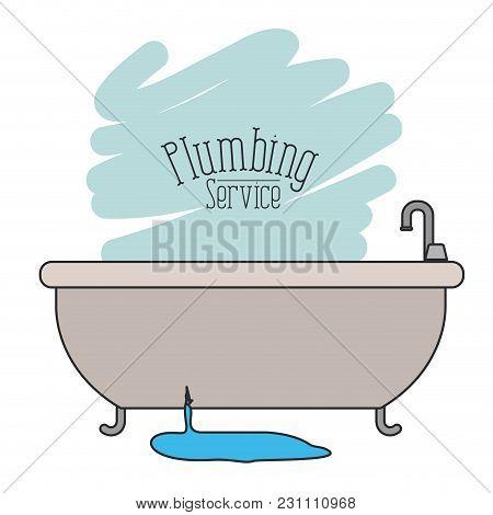 Scene Of Bath Dripping Flooded Plumbing Service Vector Illustration