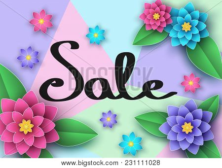 Spring Or Summer  Sale Banner With Beautiful Flowers  And  Lettering.