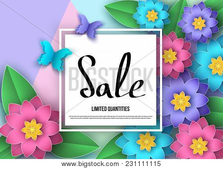 Spring Or Summer  Sale Banner With  Flowers, Leaves And Butterflies.