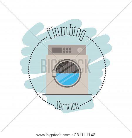 Sticker Scene Of Washing Machine Dripping Plumbing Service Vector Illustration