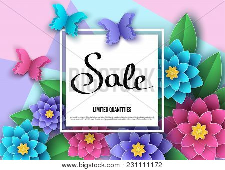Summer Or Spring   Season  Sale  Banner With Flowers, Butterflies.