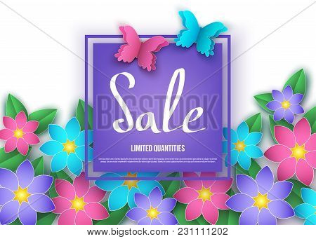 Spring Or Summer  Discount  Banner With Flowers And Butterflies.