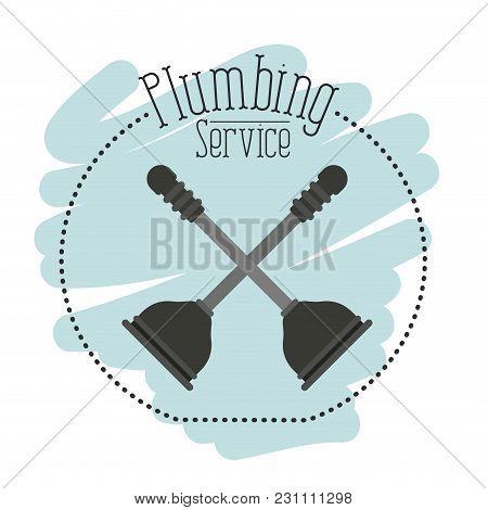 Sticker Scene Of Toilet Plunger Bathroom Equipment Vector Illustration