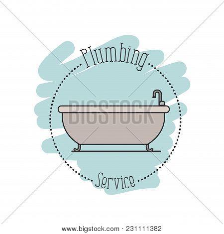 Sticker Scene Of Bath Dripping Flooded Plumbing Service Vector Illustration