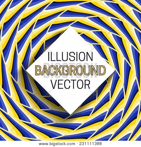 Square Frame With Shadow On Illusion Background Of Moving Spiral Pattern.