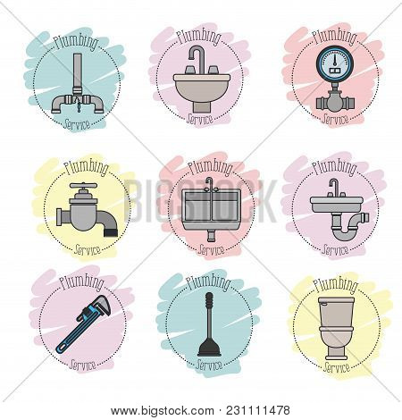 Sticker Scene Of Icons Set On White Background Plumbing Service Vector Illustration