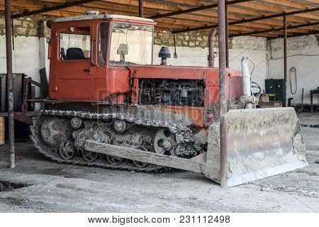 Tractor. Agricultural Machinery Tractor. Tractor With Pick-up, Grader. Parking Of Tractor Agricultur
