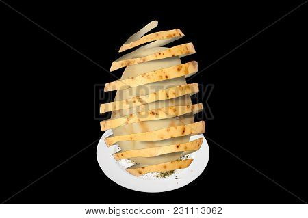 Surreal Abstract Composite Image Of How To Peel A Potato Cut Out And Isolated On A Black Background