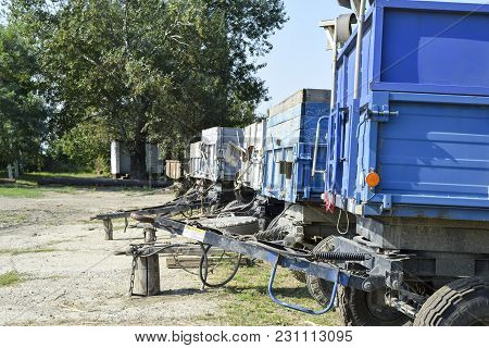 Trailers Trucks For A Tractor. The Trailer For Cargo Transportation.