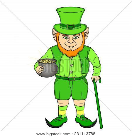 Leprechaun Pop Art. Happy St. Patrick Holds A Cauldron Full Of Gold Coins In His Hands. Vector Illus