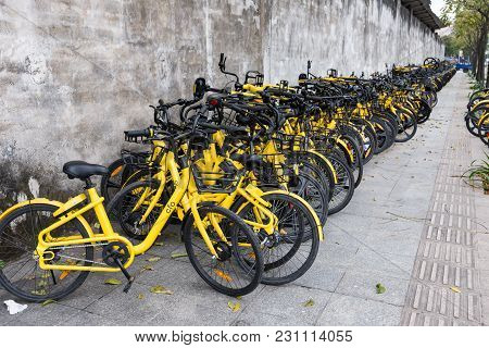 Zhongshan;guangdong;china-mar 4;2018:shared Bikes Put Aside The Road.too Many Shared Bikes In China