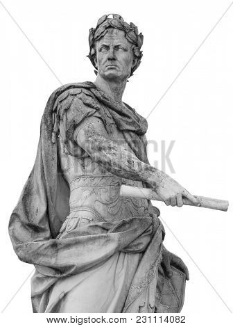 Roman emperor Julius Caesar statue isolated over white background