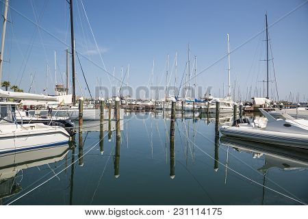 White Yachts In The Port Are Waiting. Rimini, Italy.
