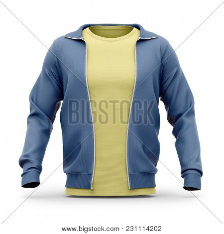 Men's hooded zip-up sweatshirt and t shirt with crew neck. Front view. 3d rendering. Clipping paths included: whole object, sleeves, t shirt.