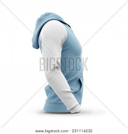Men's hooded zip-up hoodie. Sweatshirt with pockets. Side view. 3d rendering. Clipping paths included: whole object, hood, sleeve, zipper, rope tie.