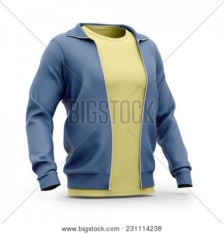 Men's hooded zip-up sweatshirt and t shirt with crew neck. Half-front view. 3d rendering. Clipping paths included: whole object, sleeves, t shirt.