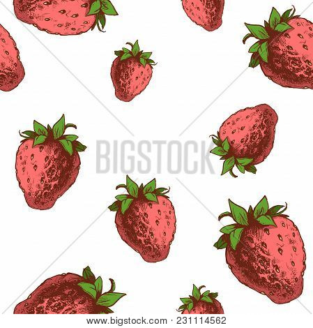 Strawberries Seamless Pattern. Hand Drawn Sketch Style Ripe Fruits And Berries Vector Illustration.