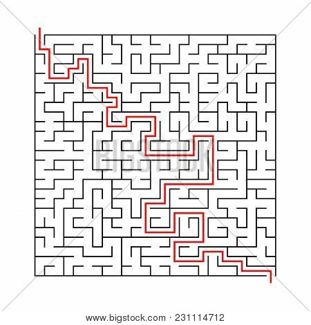 Square Labyrinth With Entry And Exit.vector Game Maze Puzzle With Solution