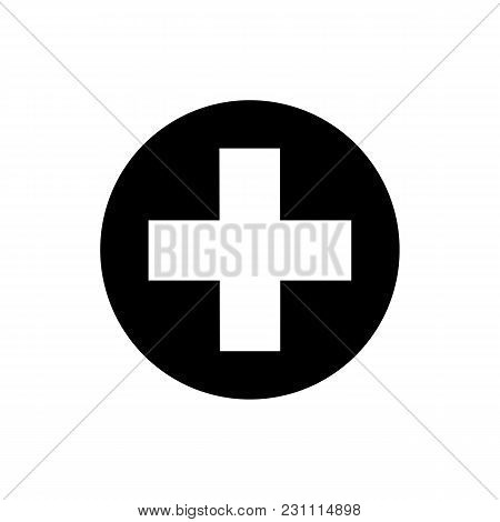 Isolated Medical Cross Icon On White Background. Flat Black Medical Cross Icon For Use In Variety Of