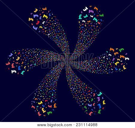Bright Pound Sterling Explosion Burst On A Dark Background. Vector Abstraction. Suggestive Twist Com