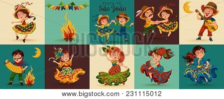 Young Woman Dancing Salsa On Summer Festivals Celebrated In Brazil Festa Junina, Girl In Straw Hat T