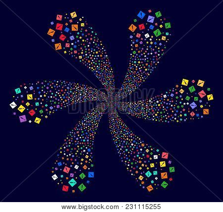 Multi Colored Problem Rotation Composition On A Dark Background. Vector Abstraction. Suggestive Burs