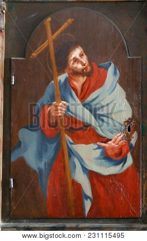 LEPOGLAVA, CROATIA - MARCH 17: Saint Philip the apostle, picture on a wardrobe in the sacristy of the church of the Immaculate Conception in Lepoglava, Croatia on March 17, 2017.