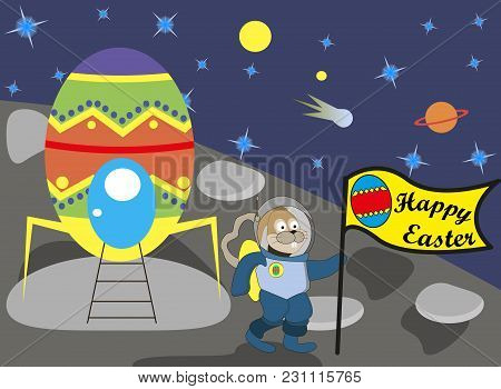 Easter Bunny On The Moon With The Flag, Vector