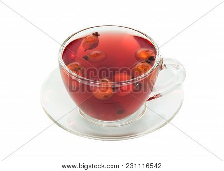 Transparent Cup With Tea Fromdog-rose Fruit Isolated On White Background