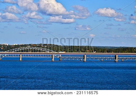 Bridge Linking Two Swedish Islands Of Stockholm Archipelago In Baltic Sea, Sweden