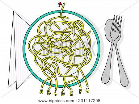 Spaghetti Labyrinth Vector Maze Game Puzzle With Solution In Hidden Layer