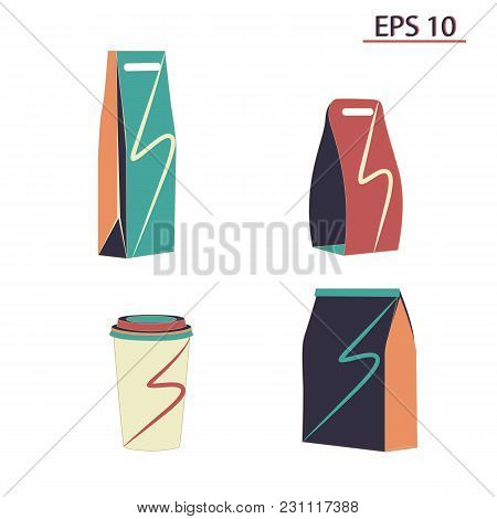Set Empty Color Shopping Bags Paper Cup Isolated On White Background Vector Layout. Layout For Adver