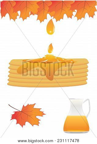 Set The Pie Is Filled With Maple Syrup Drop Glass Jug Autumn Leaves Isolated White Background Vector