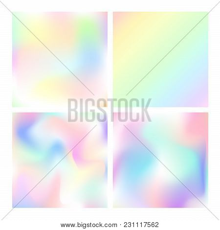 Vector Illustration Set Of Holographic Backgrounds. Trendy Pastel Smooth Shining Textures Collection