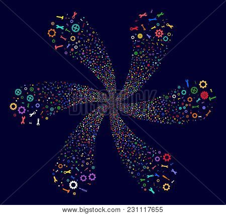 Bright Repair Instruments Cycle Motion On A Dark Background. Vector Abstraction. Psychedelic Flower