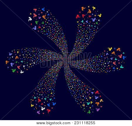 Colorful Rooster Explosion Flower Cluster On A Dark Background. Vector Abstraction. Hypnotic Cluster