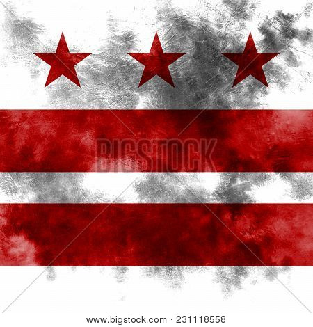 Washington D.c City Smoke Flag, Maryland And Virginia State, United States Of America