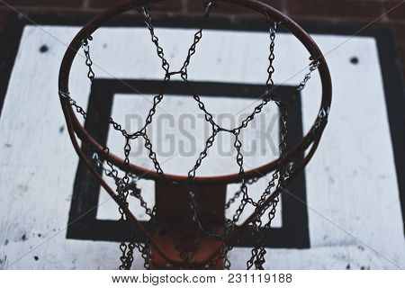 Old And Well Used Basketball Hoop With Nice Details