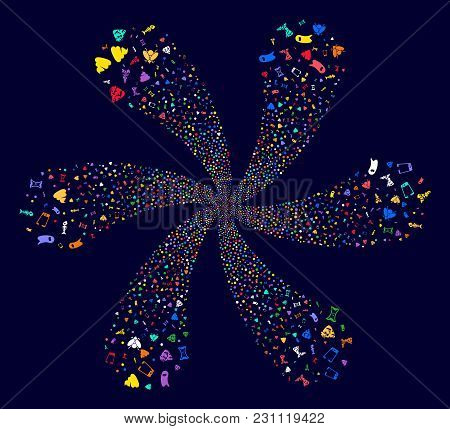 Psychedelic Rubbish Centrifugal Flower Cluster On A Dark Background. Vector Abstraction. Psychedelic