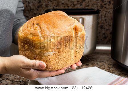 Homemade Bread Baked In A Bread Maker