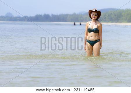 Woman Body Sexy Show Bikini On Beach At Bang Beot Beach, Chumphon Province Thailand